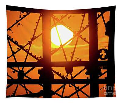 Starlings Roosting At Sunset Tapestry