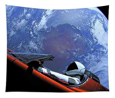 Starman, Tesla And Earth Outer Space Image Tapestry