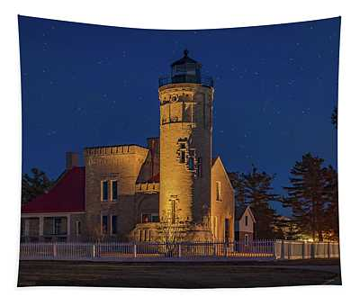 Starry Night At Old Mackinac Point Lighthouse  Tapestry