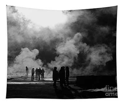 Steamy Silhouettes El Tatio Geysers Chile Tapestry