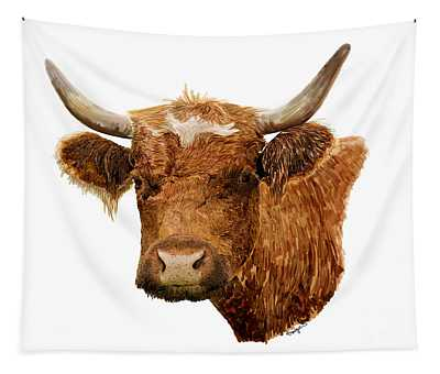Steer Portrait - Barnyard Bunch Collection Tapestry