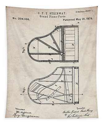 Steinway Grand Piano Patent, Piano Player Art - Antique Vintage Tapestry