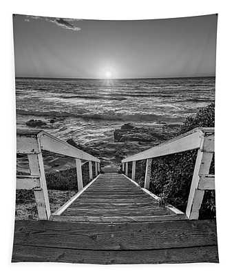 Steps To The Sun  Black And White Tapestry