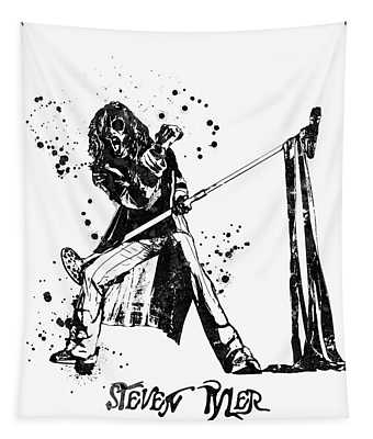 Steven Tyler Microphone Aerosmith Black And White Watercolor 03 Tapestry