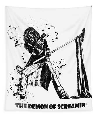 Steven Tyler Microphone Aerosmith Black And White Watercolor 04 Tapestry