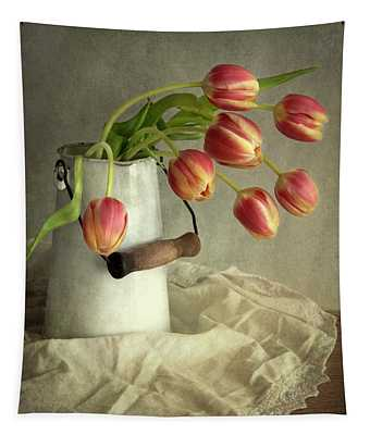 Red And Yellow Tulips Tapestry