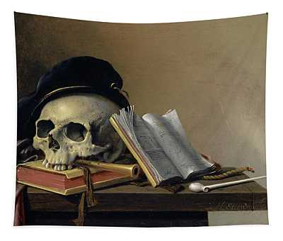 Still Life With Skull, Books, Flute And Pipe Tapestry