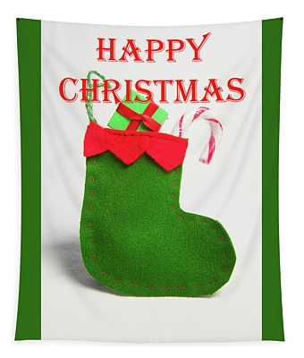 Stocking - Happy Christmas Tapestry