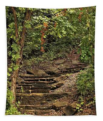 Stone Stairway In The Woods Tapestry