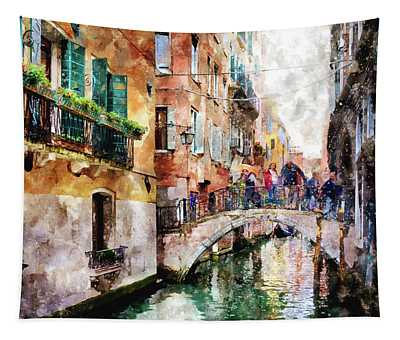 People On Bridge Over Canal In Venice, Italy - Watercolor Painting Effect Tapestry