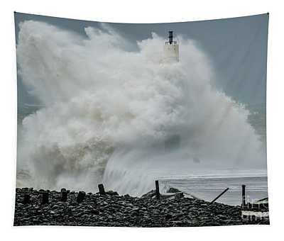 Storm Brian Hitting Aberystwyth Lighthouse Tapestry