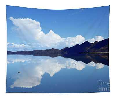Storm Cloud Rising Over Salar De Uyuni Bolivia Tapestry