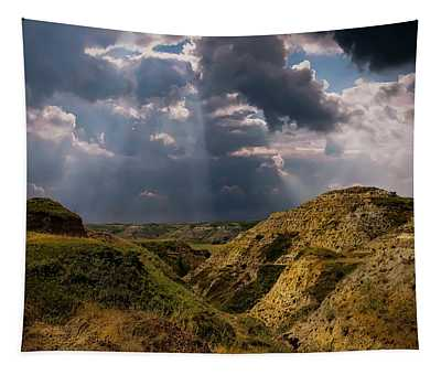 Storm Over The Alberta Badlands Tapestry