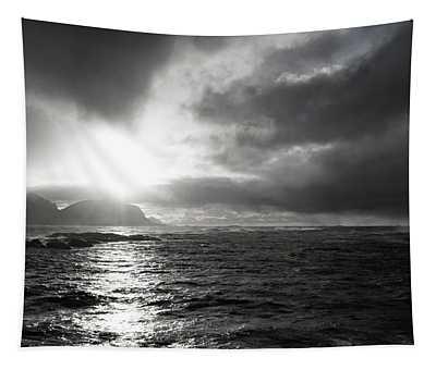stormy coastline in northern Norway Tapestry