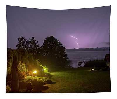 Stormy Night Over Lake Tajty Tapestry