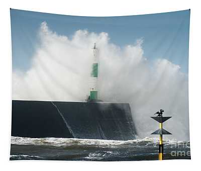 Stormy Sea And A Cormorant Tapestry