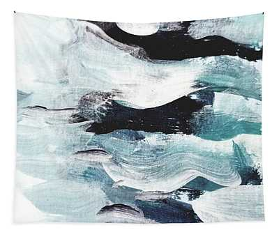 Tapestry featuring the painting Stormy Sea by Maria Langgle