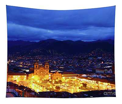 Stormy Twilight View Over Cusco Peru Tapestry