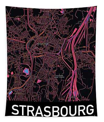 Tapestry featuring the digital art Strasbourg City Map by Helge