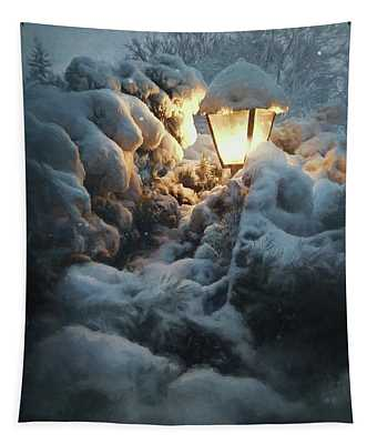 Streetlamp In The Snow Tapestry