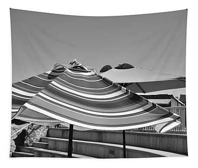 Striped Umbrellas In Black And White Tapestry