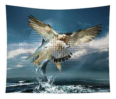 Subliminal Message Or  Optical Illusion Of Conscious Perception Tapestry