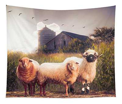 Summer Sheep Oil Painting Tapestry