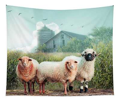 Summer Sheep On A Misty Morning Tapestry