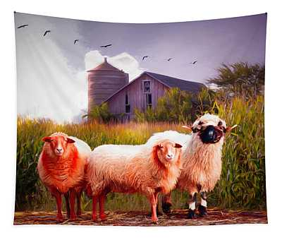 Summer Sheep Painting Tapestry