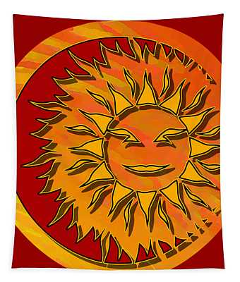 Sun Eclipsing The Moon Tapestry