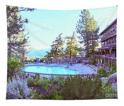 Sun Mountain Lodge Pool With A View Of The North Cascade Mountain Range Tapestry