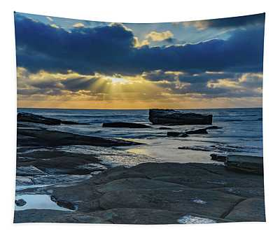 Sun Rays Burst Through The Clouds - Seascape Tapestry