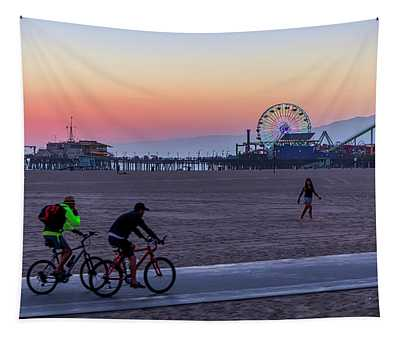 Sundown Ride To The Pier Tapestry