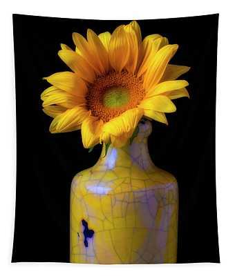 Sunflower In Cracked Vase Tapestry