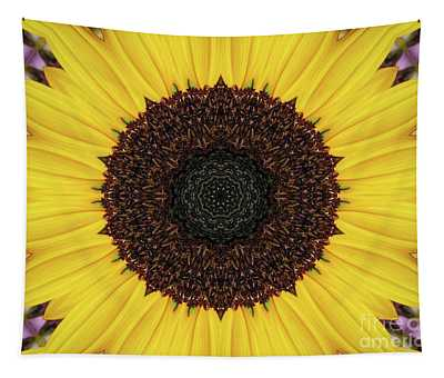 Sunflower Mandala Kaleidoscope Abstract 1 Tapestry