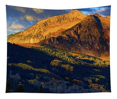 Tapestry featuring the photograph Sunlight Along The Mountain by John De Bord