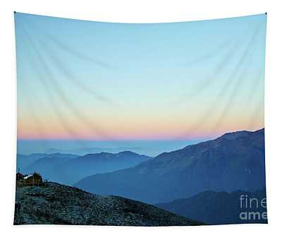 Tapestry featuring the photograph Sunrise Above Mountain In Valley Himalayas Mountains Mardi Himal by Raimond Klavins