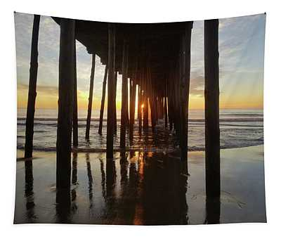Sunrise At The Oc Fishing Pier Tapestry
