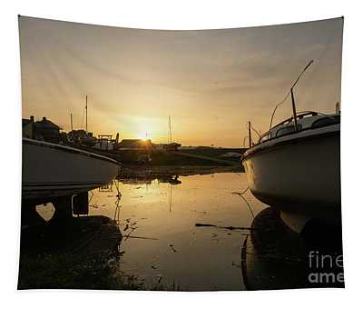 Sunrise Over Aberystwyht Harbour Tapestry