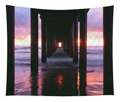 Sunrise Over The Pacific Ocean Seen Tapestry