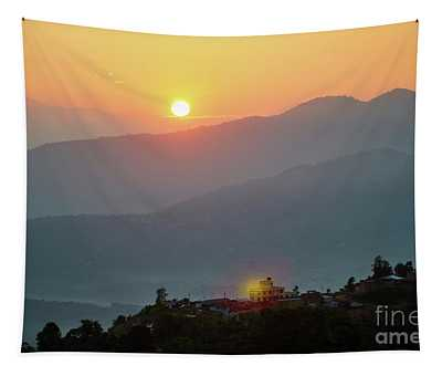 Sunset Above Mountain In Valley Himalayas Mountains Tapestry