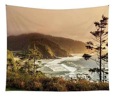 Sunset At Heceta Head Tapestry