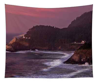 Sunset At Heceta Head Lighthouse Tapestry