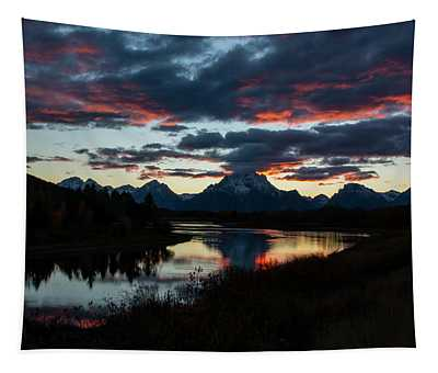 Sunset At Oxbow Bend Tapestry