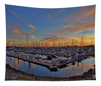 Sunset At Pier 32 Marina In National City, California Tapestry