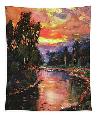 Sunset At River Bend Tapestry