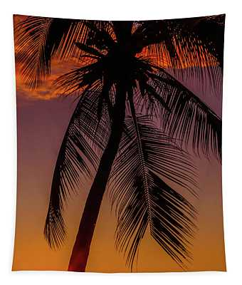 Sunset At The Palm Tapestry