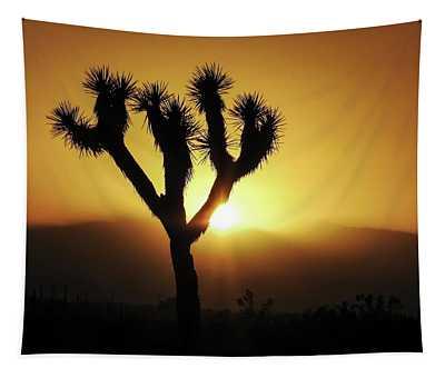 Sunset Behind Joshua Tree Tapestry