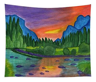 Sunset By The River Tapestry