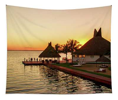 Sunset In Cancun Tapestry